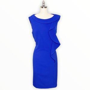 Calvin Klein Blue Ruffled Sheath Dress Sleeveless